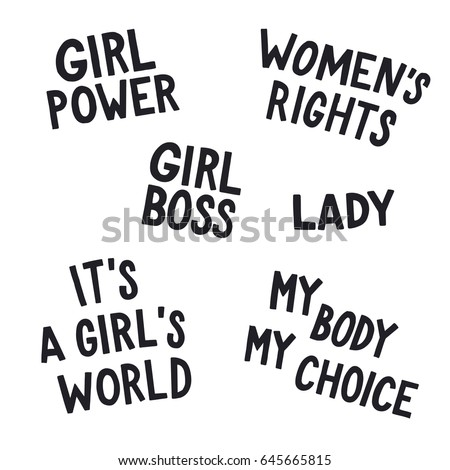 Feminist Quotes Inspiration Feminist Quotes Set Girl Power Womens Stock Vector Royalty Free