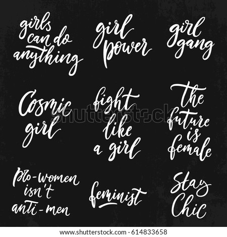 Feminist Quotes Fascinating Feminist Quotes Set Woman Motivational Signs Stock Vector Royalty