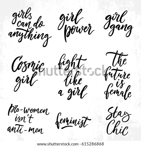 Feminist Quotes Simple Feminist Quotes Set Woman Motivational Signs Stock Vector Royalty