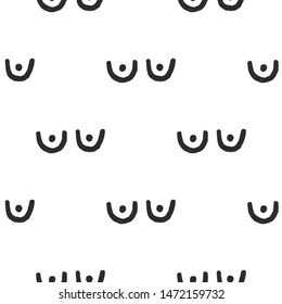 Feminist seamless with breast. Feminism pattern. Black elements on white background. Woman textile design. Female hand drawn brush graphic. Vector illustration. Girl power concept.