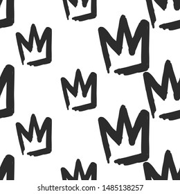 Feminist seamless pattern with crown. Girl power concept. Black elements on white background. Woman textile design. Female hand drawn brush graphic.