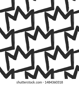 Feminist seamless with simple crown. Feminism pattern. Black elements on white background. Woman textile design. Female hand drawn brush graphic. Vector illustration. Girl power concept.