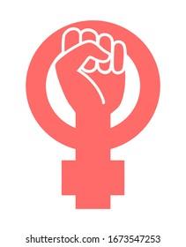 Feminist sign. Woman's fist protest symbol.
