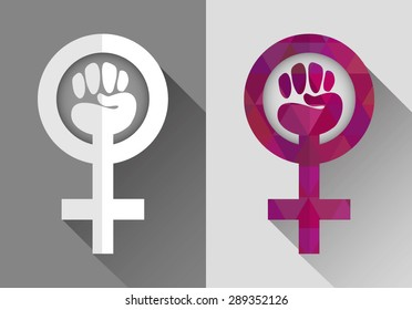feminist symbol. web icon. flat design with long shadow in two variations: light and bright pink