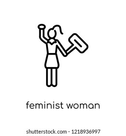 Feminist Woman icon. Trendy modern flat linear vector Feminist Woman icon on white background from thin line Ladies collection, editable outline stroke vector illustration