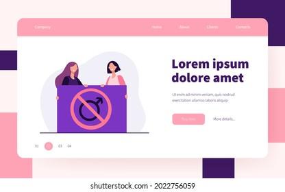 Feminists holding no men allowed placard. Activists, sexists, radical feminism. Flat vector illustration. Gender discrimination concept for banner, website design or landing web page