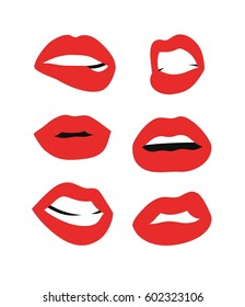 Femme fatale lips illustration. Flat style female sexy mouths. Isolated Hand drawn vector facial expression and red lipstick