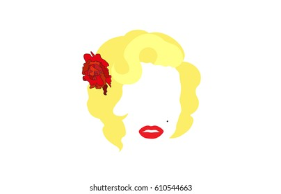 Femme fatale Marilyn, vector illustration, portrait of modern American woman