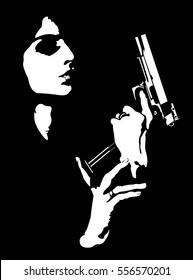 Femme fatale reloading gun abstract portrait.  Easy editable layered vector illustration.