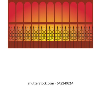 Fence around the pavilion in the park in the evening. Vector flat illustration for design and illustration.