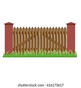 Fence with brick pillars and wood gate. Element to use as manor, farm or garden fence in landscape scene design. Isolated object on white background. Vector illustration