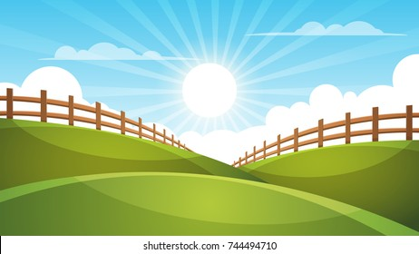Fence, cartoon landscape. Sun, cloud sky illustration Vector eps 10