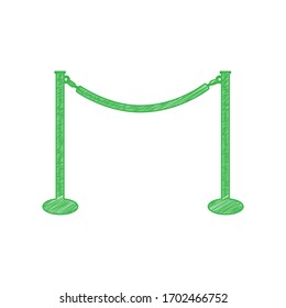 Fence from chainc sign. Green scribble Icon with solid contour on white background. Illustration.