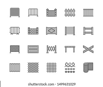 Fence flat line icons set. Wood fencing, metal profiled sheet, wire mesh, crowd control barricades vector illustrations. Outline signs for protection store. Pixel perfect. Editable Strokes.
