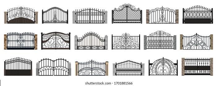 Fence gate isolated cartoon set icon. Vector cartoon set icon metal entrance. Vector illustration fence gate on white background.