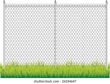 fence and grass isolated