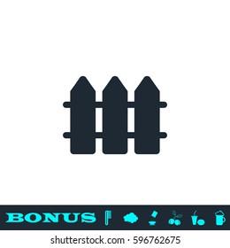 Fence icon flat. Black pictogram on white background. Vector illustration symbol and bonus button