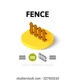 Fence icon, vector symbol in flat, outline and isometric style