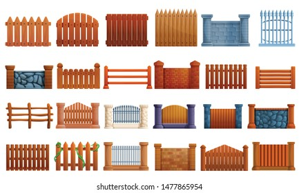 Fence icons set. Cartoon set of fence vector icons for web design