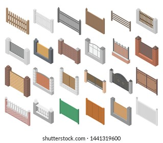Fence icons set. Isometric set of fence vector icons for web design isolated on white background