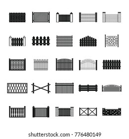Fence icons set. Simple illustration of 25 fence vector icons for web