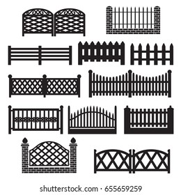 Fence icons. Fence silhouette Icon Set Isolated on a White Background. Barrier for Protection Garden, House and Farm.