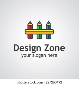 Fence from pencils vector logo template, icon idea for design studio brand