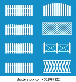 Fence Picket icon set . Vector illustration