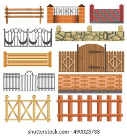 fence Set of different fence design: wooden, metal, stone barriers. Vector fences and gates illustration isolated on white background. fence Outdoor fence architecture elements