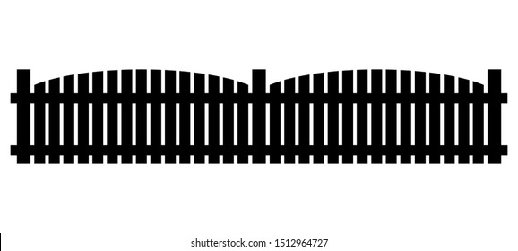 Fence silhouette clipart. Vector illustration isolated on white background.