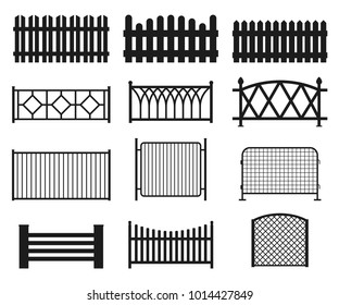 Fence silhouette set. Vector illustration isolated on white. Different types of fences: wooden, metal, forged, decorative. Fencing elements for private property protection.