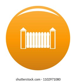 Fence with turret icon. Simple illustration of fence with turret vector icon for any design orange