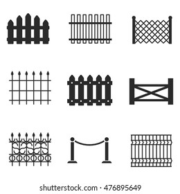 Fence vector icons. Simple illustration set of 9 fence elements, editable icons, can be used in logo, UI and web design