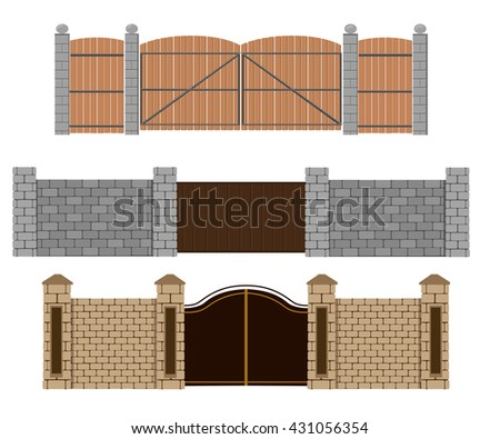 Fence Vector Illustration Brick Fence Wood Stock Vector Royalty