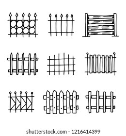 fences icons set. isolated objects silhouettes.