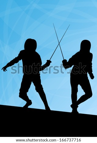 Fencing Active Young Men Sword Fighting Stock Vector (Royalty Free