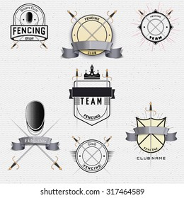 Fencing badges logos and labels can be used to fashion design, signs for sports clubs, sales