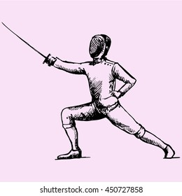 Fencing player  doodle style sketch illustration hand drawn vector