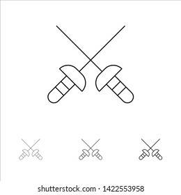 Fencing, Sabre, Sport Bold and thin black line icon set