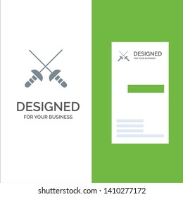 Fencing, Sabre, Sport Grey Logo Design and Business Card Template