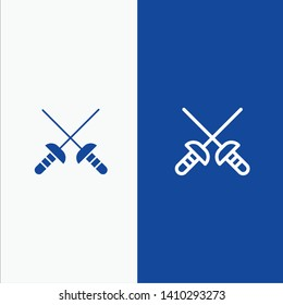 Fencing, Sabre, Sport Line and Glyph Solid icon Blue banner Line and Glyph Solid icon Blue banner