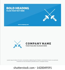 Fencing, Sabre, Sport SOlid Icon Website Banner and Business Logo Template