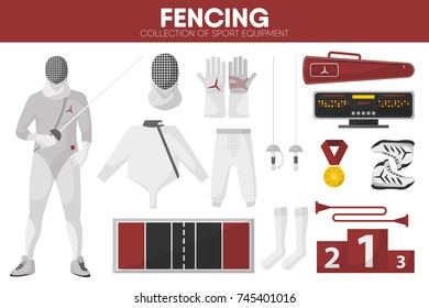 Fencing sport equipment swordsman fencer garment accessory vector icons set