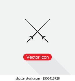 Fencing Sport Icon, Fencing Sword Icon,Cross Rapiers Icon Vector Illustration On Light Gray  Background Eps10