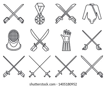 Fencing sport icons set. Outline set of fencing sport vector icons for web design isolated on white background