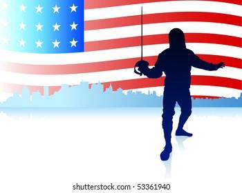 Fencing Sport on American Flag Background Original Illustration