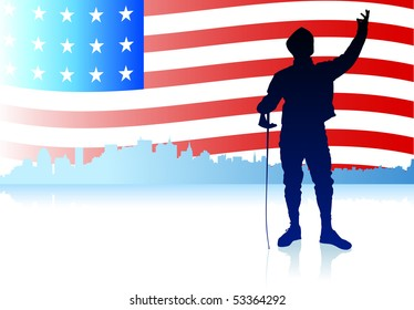 Fencing Sport on American Flag Background Original Illustration