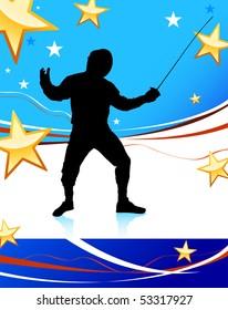 Fencing Sport on American patriotic Blue Background  Original Illustration