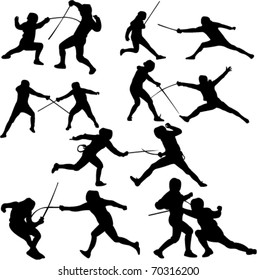 fencing sport - vector - silhouette