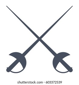 Fencing, two crossed sword, vector illustration in flat style